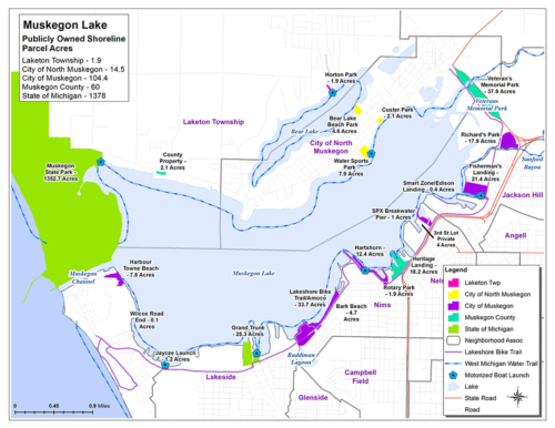 Public Access by Owner Muskegon Lake Map